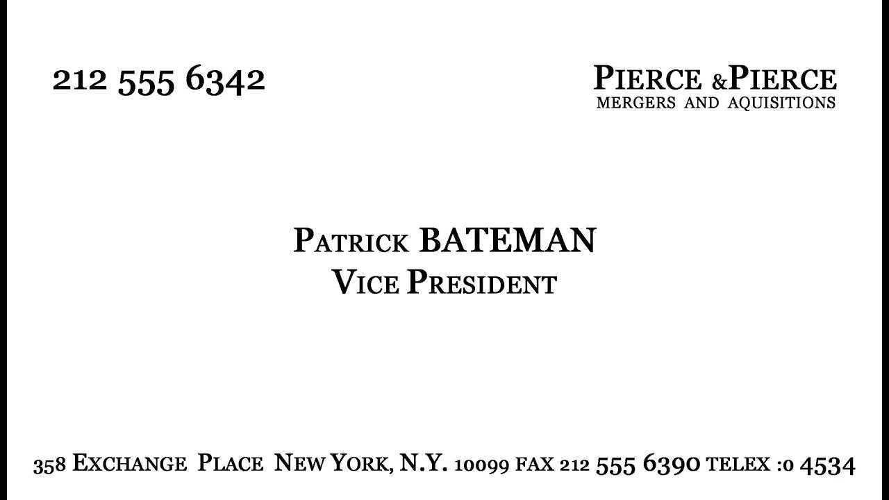 Make Patrick Bateman's Business Card - Youtube With Paul Allen Business Card Template