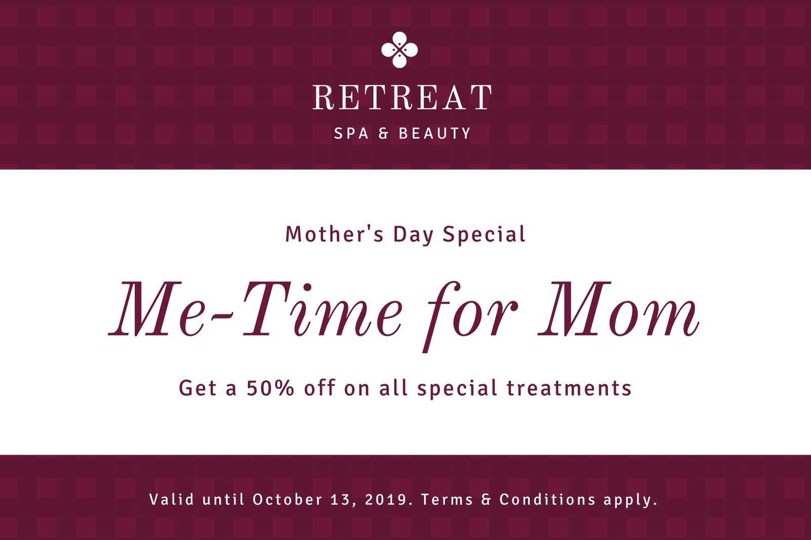 Maroon Pattern Mother's Day Gift Certificate – Templates Intended For Spa Day Gift Certificate Template