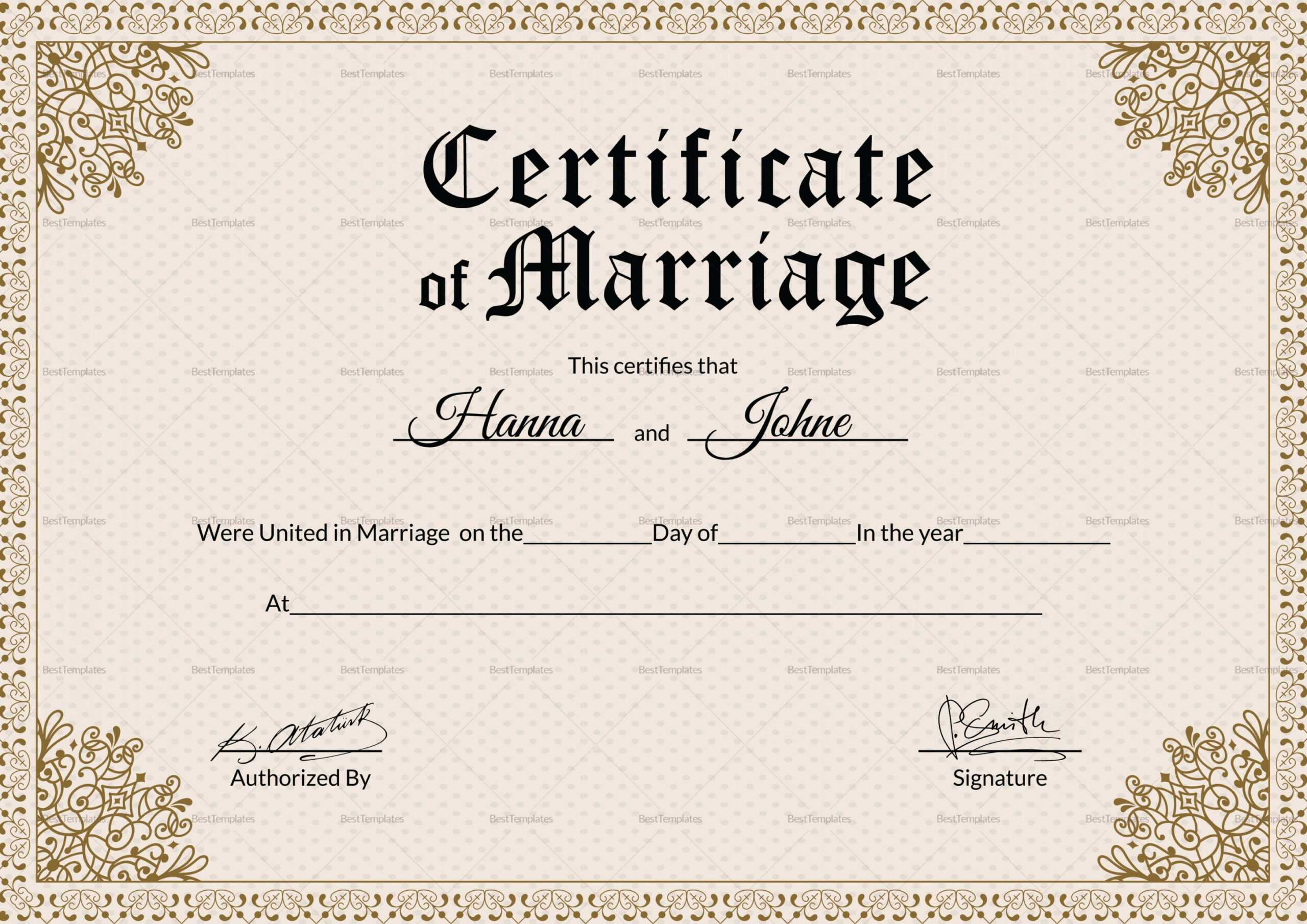 Marriage Certificate Doc - Karan.ald2014 For Blank Marriage Certificate Template