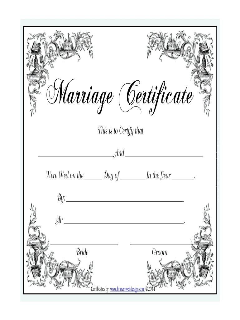 Marriage Certificate - Fill Online, Printable, Fillable With Regard To Certificate Of Marriage Template
