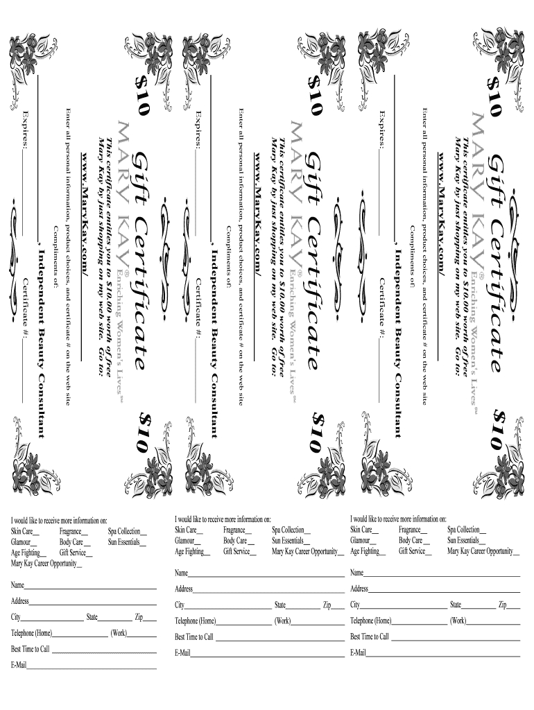 Mary Kay Gift Certificates Printable - Fill Out And Sign Printable Pdf  Template | Signnow Intended For Mary Kay Gift Certificate Template