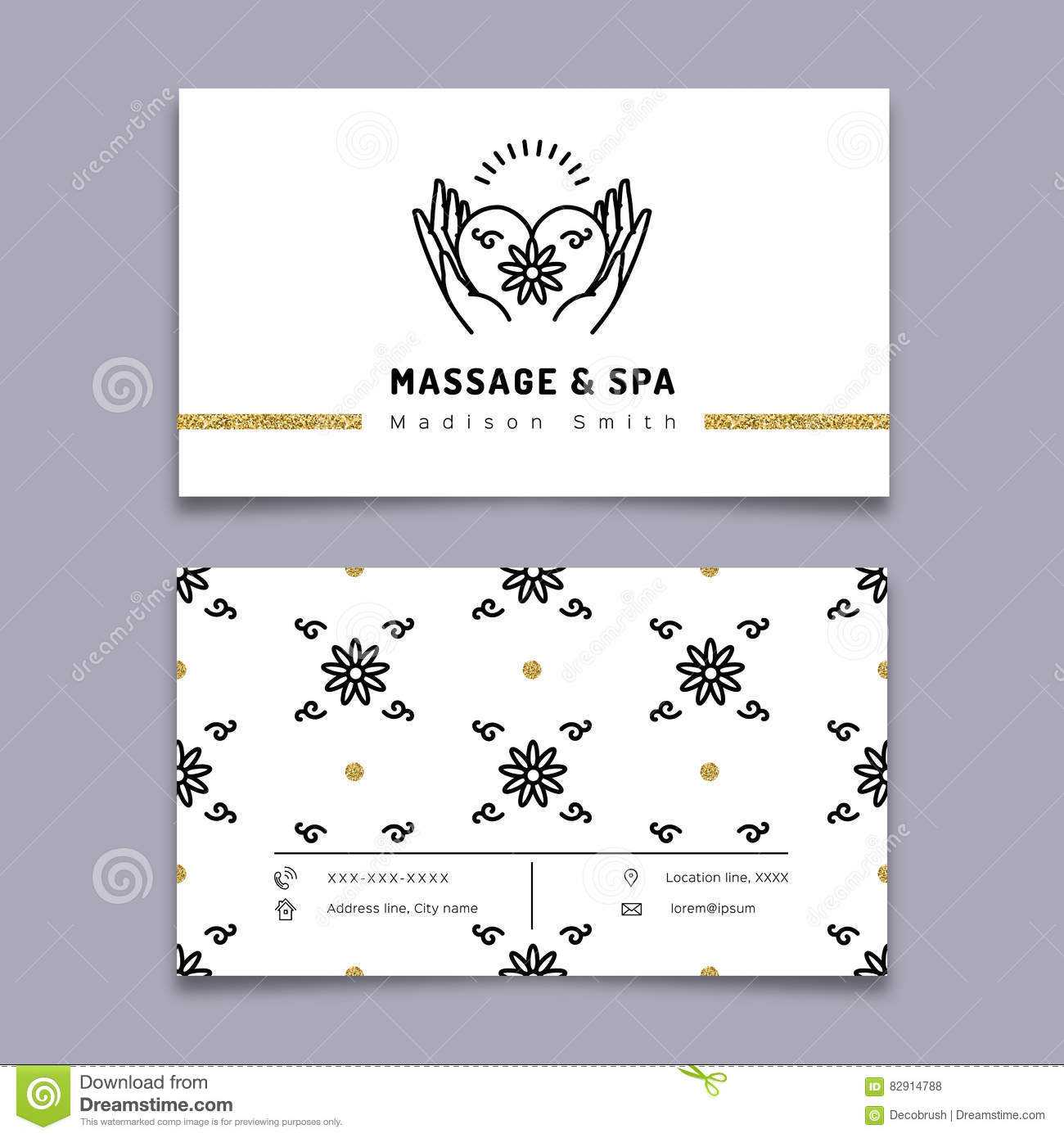 Massage And Spa Therapy Business Card Template, Trendy Line Regarding Massage Therapy Business Card Templates