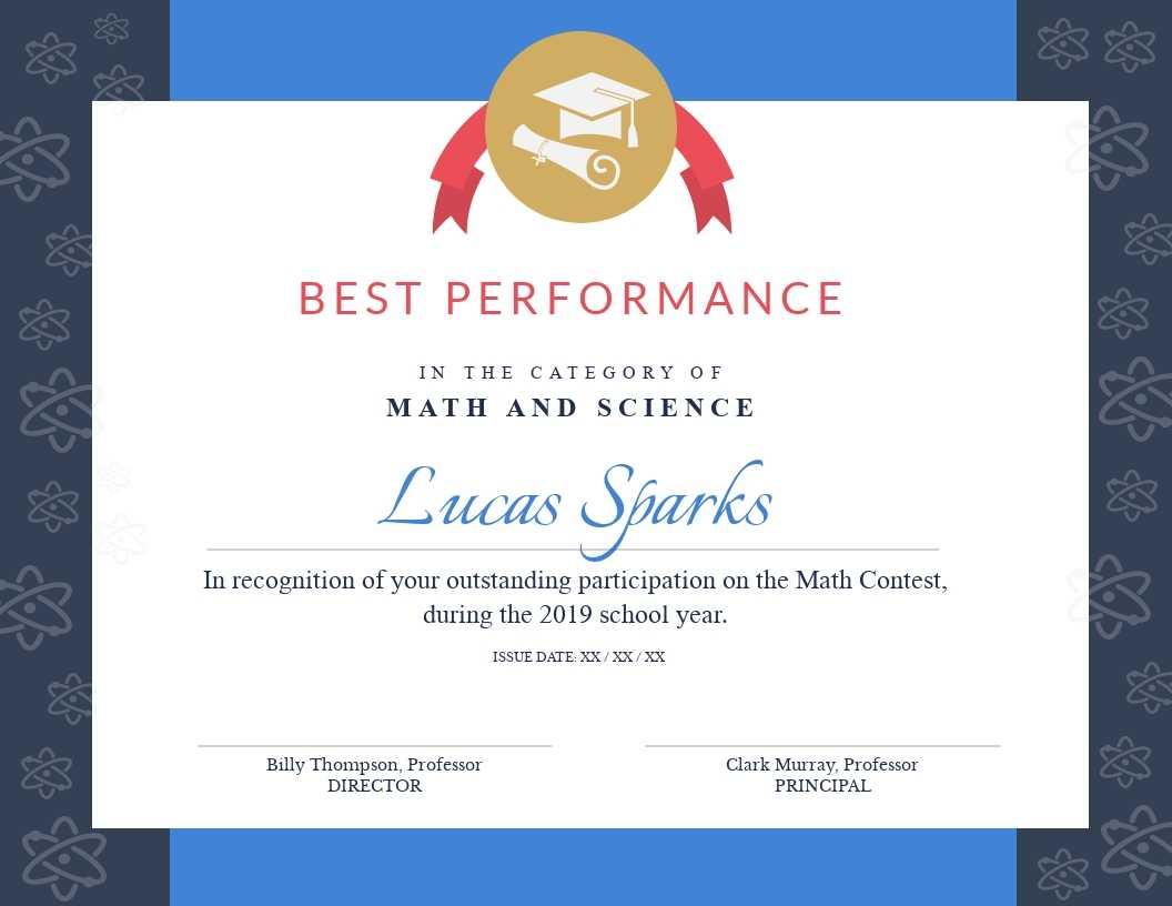 Math Contest - Certificate Template - Visme Regarding Math Certificate Template