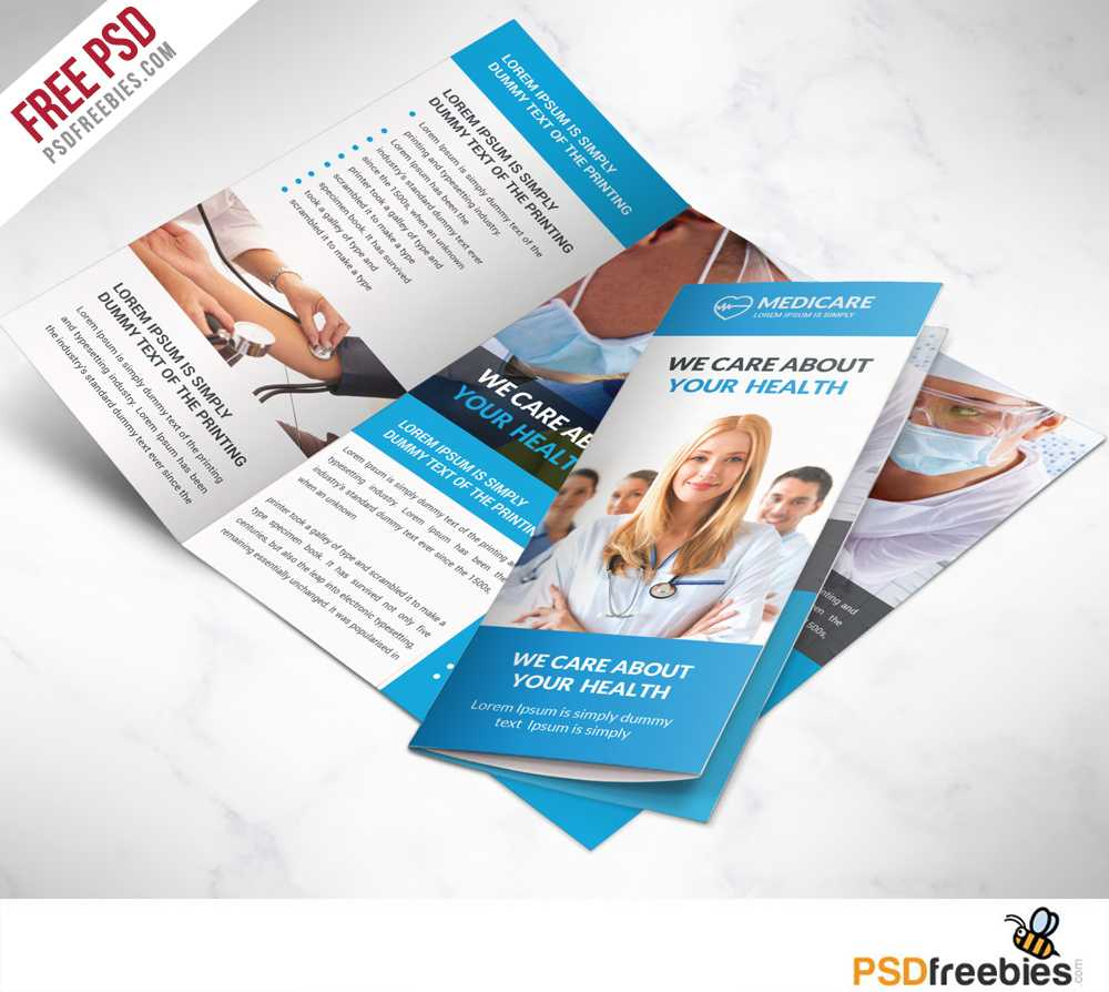 Medical Care And Hospital Trifold Brochure Template Free Psd For Medical Office Brochure Templates