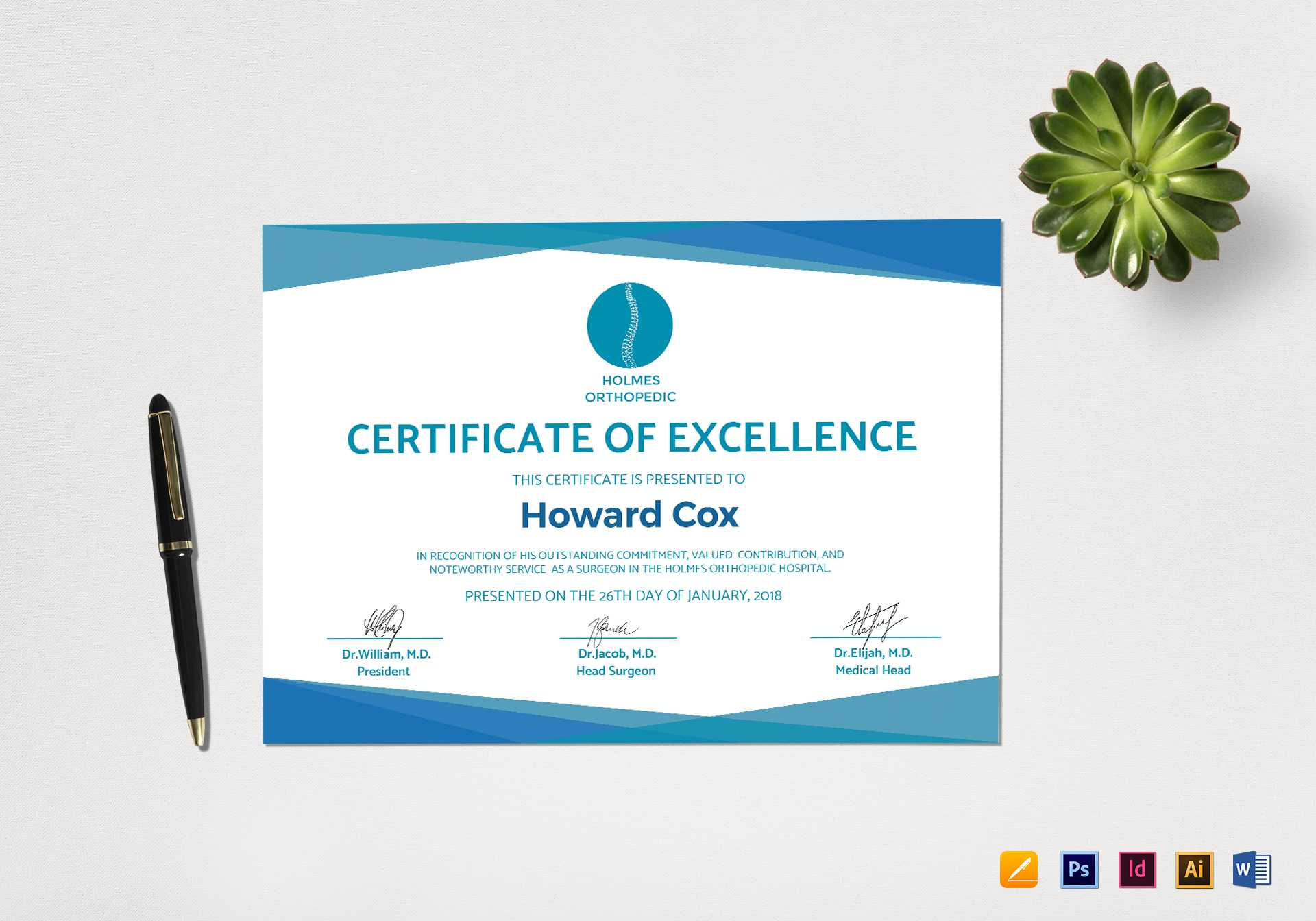 Medical Excellence Certificate Template Inside Indesign Certificate Template