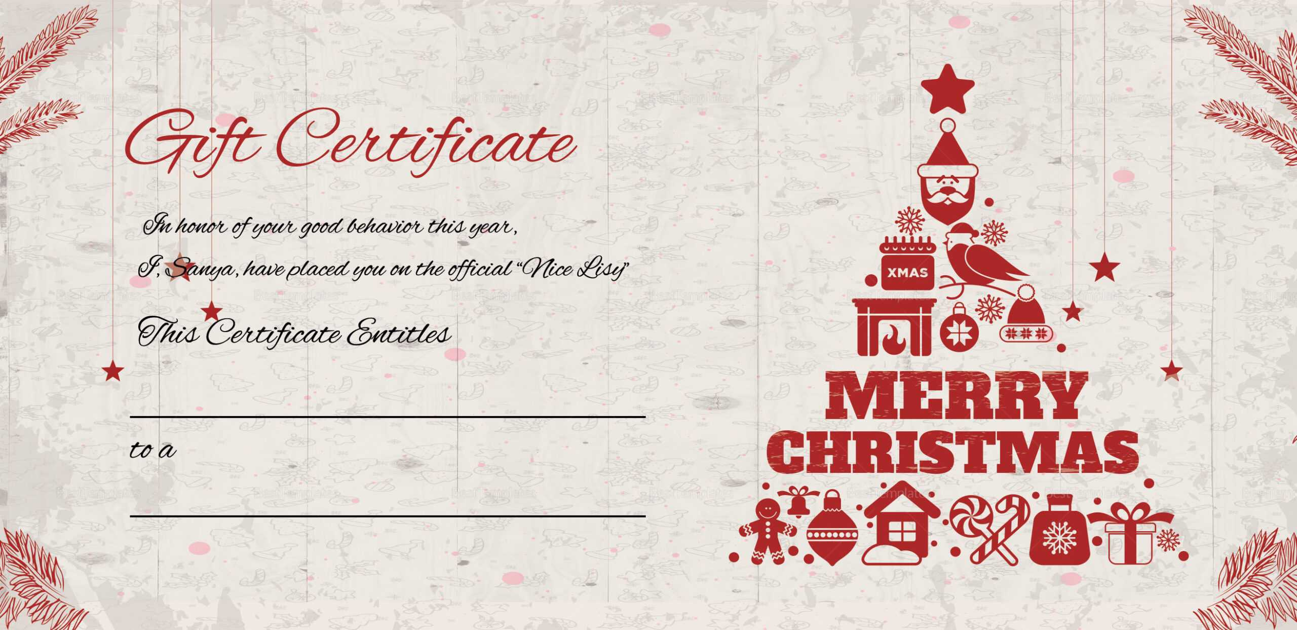 Merry Christmas Gift Certificate With Regard To Merry Christmas Gift Certificate Templates