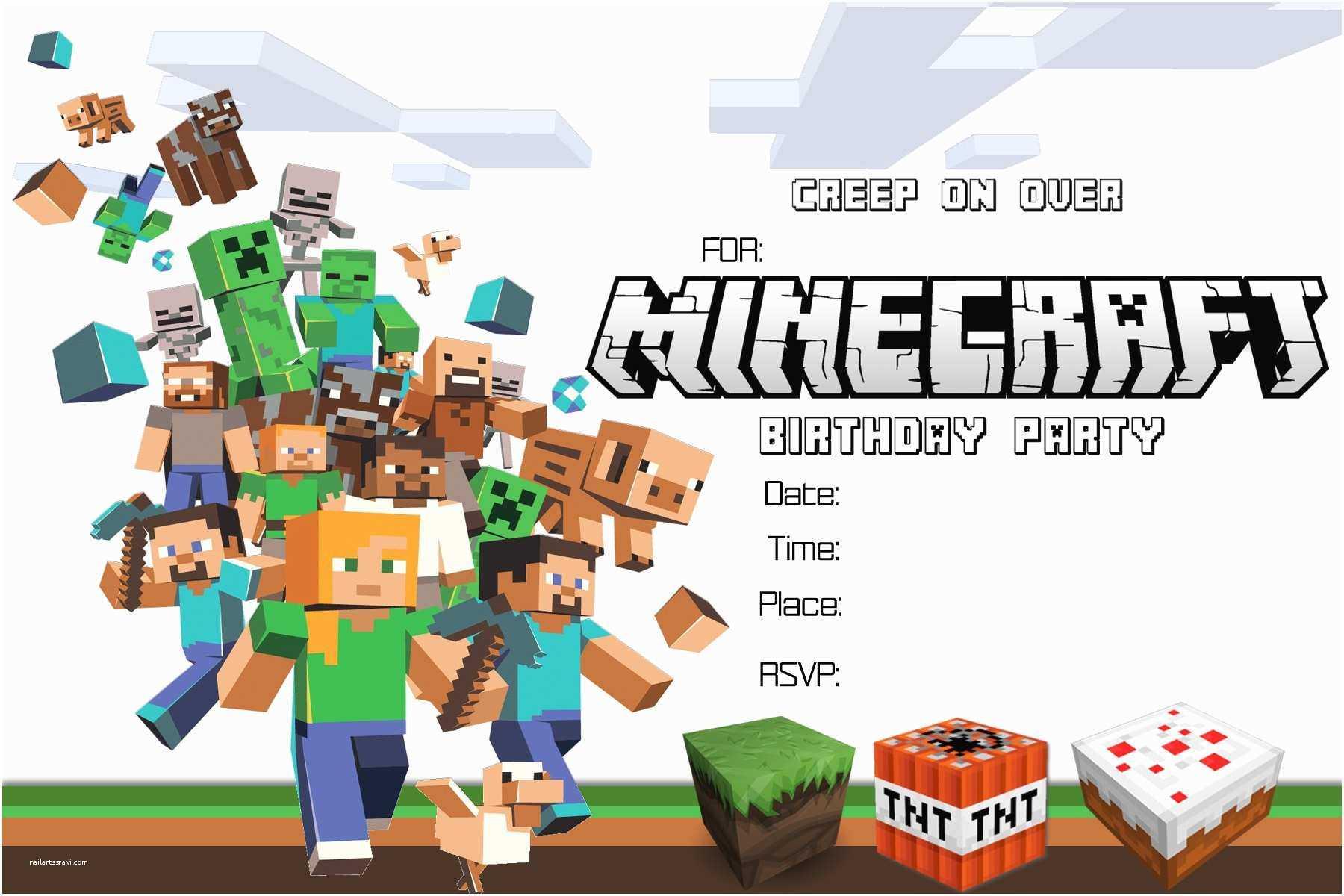 Minecraft Birthday Invitation Template Minecraft Birthday Within Minecraft Birthday Card Template