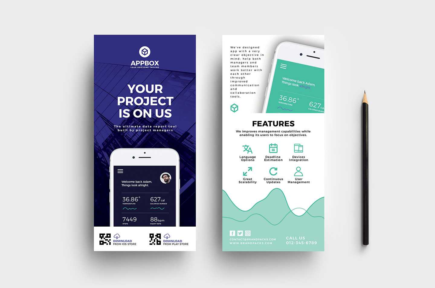 Mobile App Dl Card Template - Psd, Ai & Vector - Brandpacks Pertaining To Dl Card Template