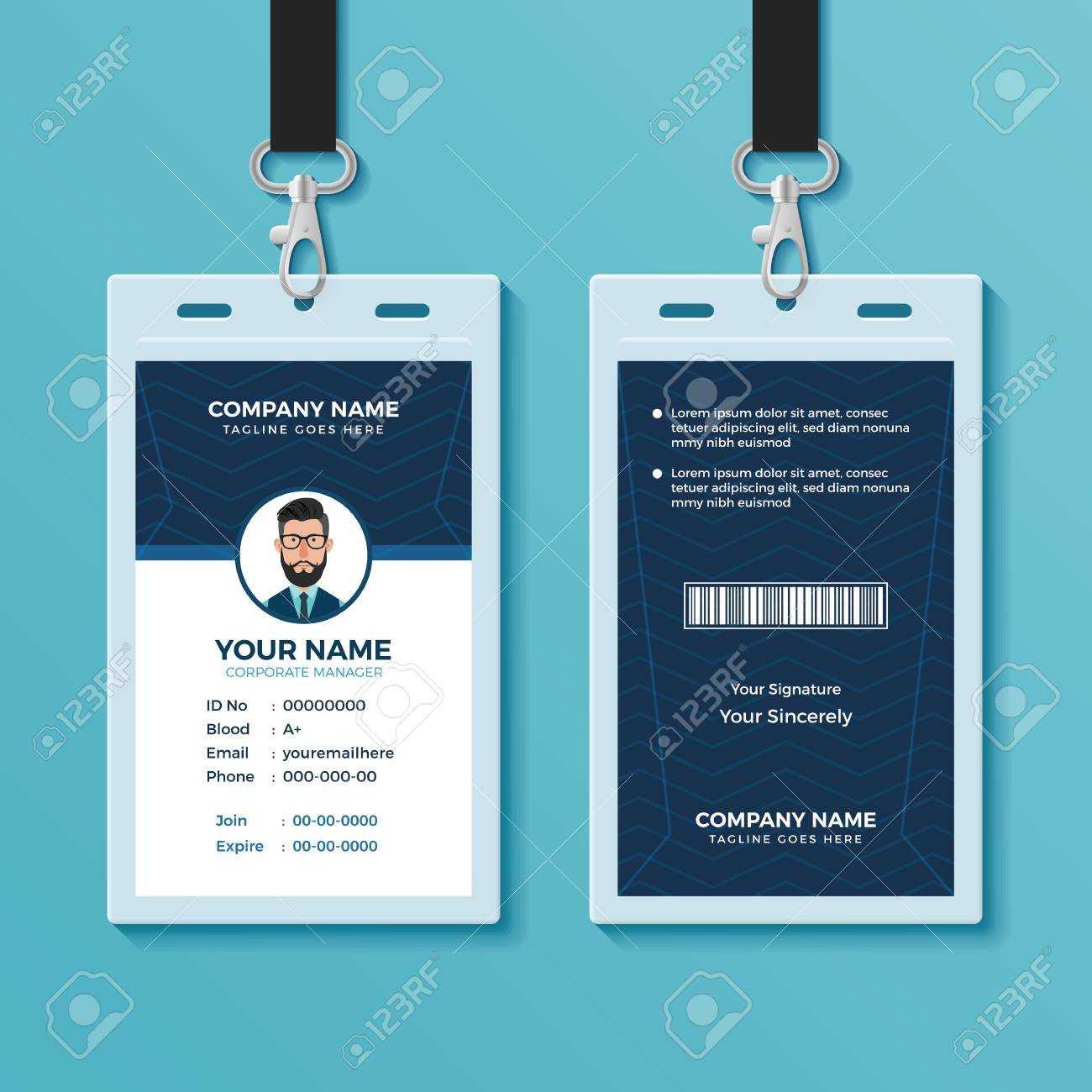 Modern And Clean Id Card Design Template Regarding Portrait Id Card Template