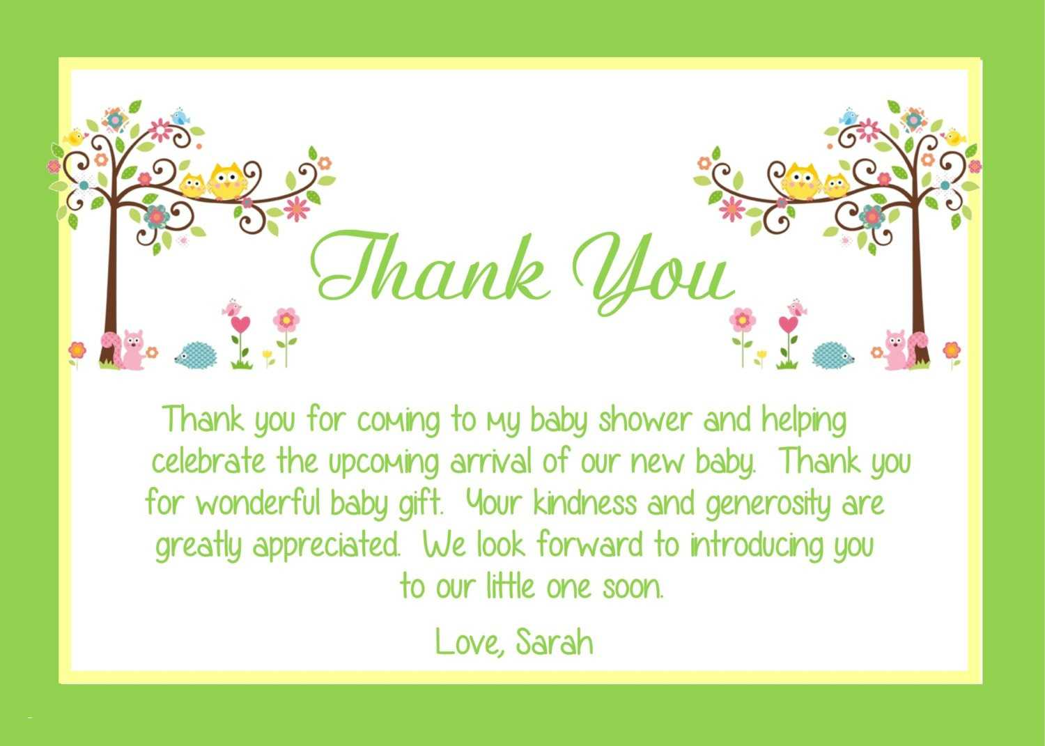 Modern Baby Shower Thank You Notes - Modern Innovation Design With Regard To Thank You Card Template For Baby Shower
