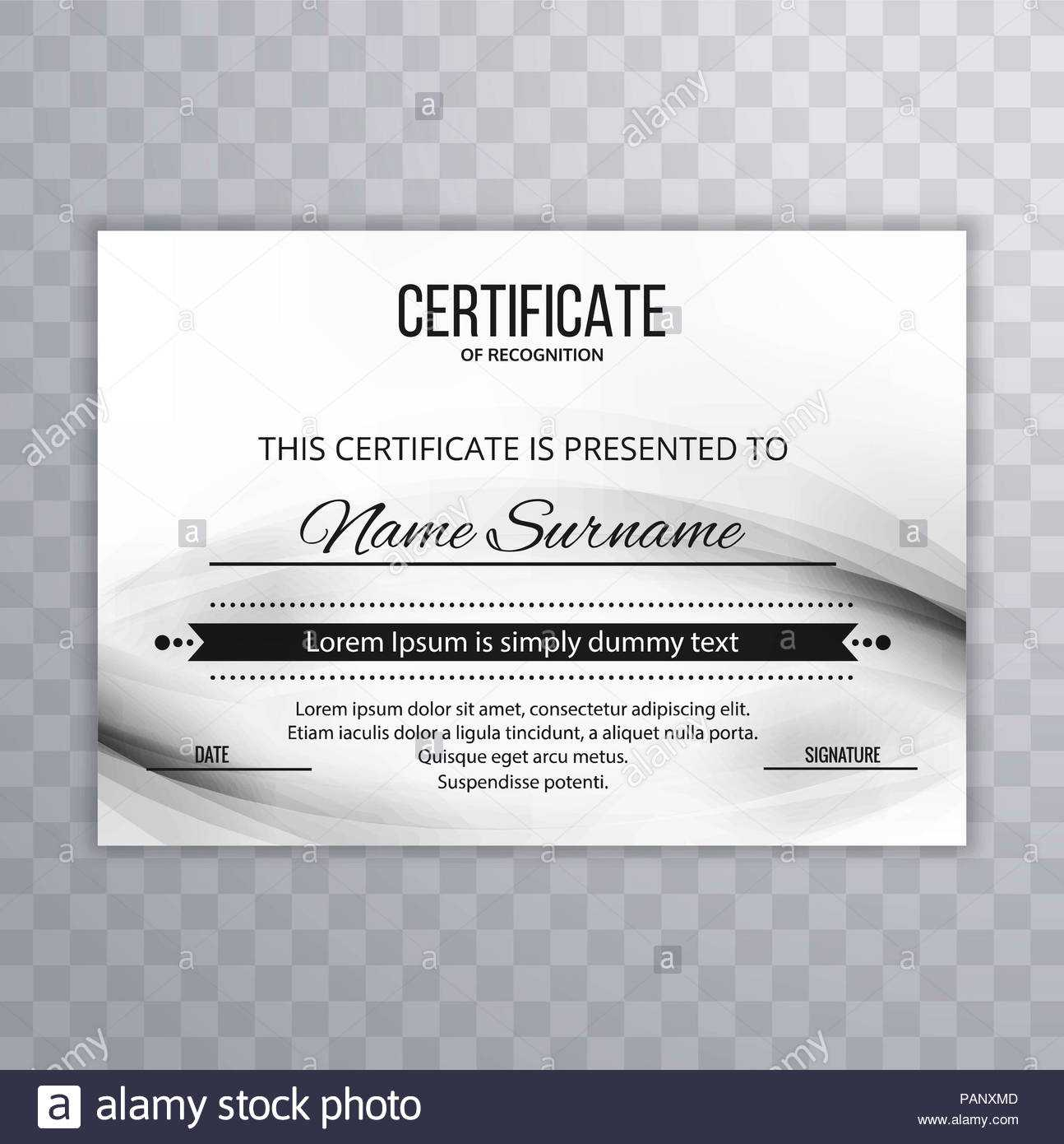 Modern Certificate Template Design Stock Photo: 213152925 Pertaining To Borderless Certificate Templates