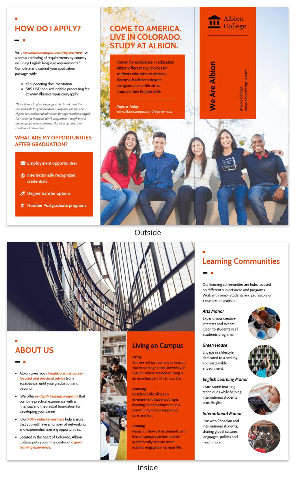 Modern Orange College Tri Fold Brochure Template In Tri Fold School Brochure Template