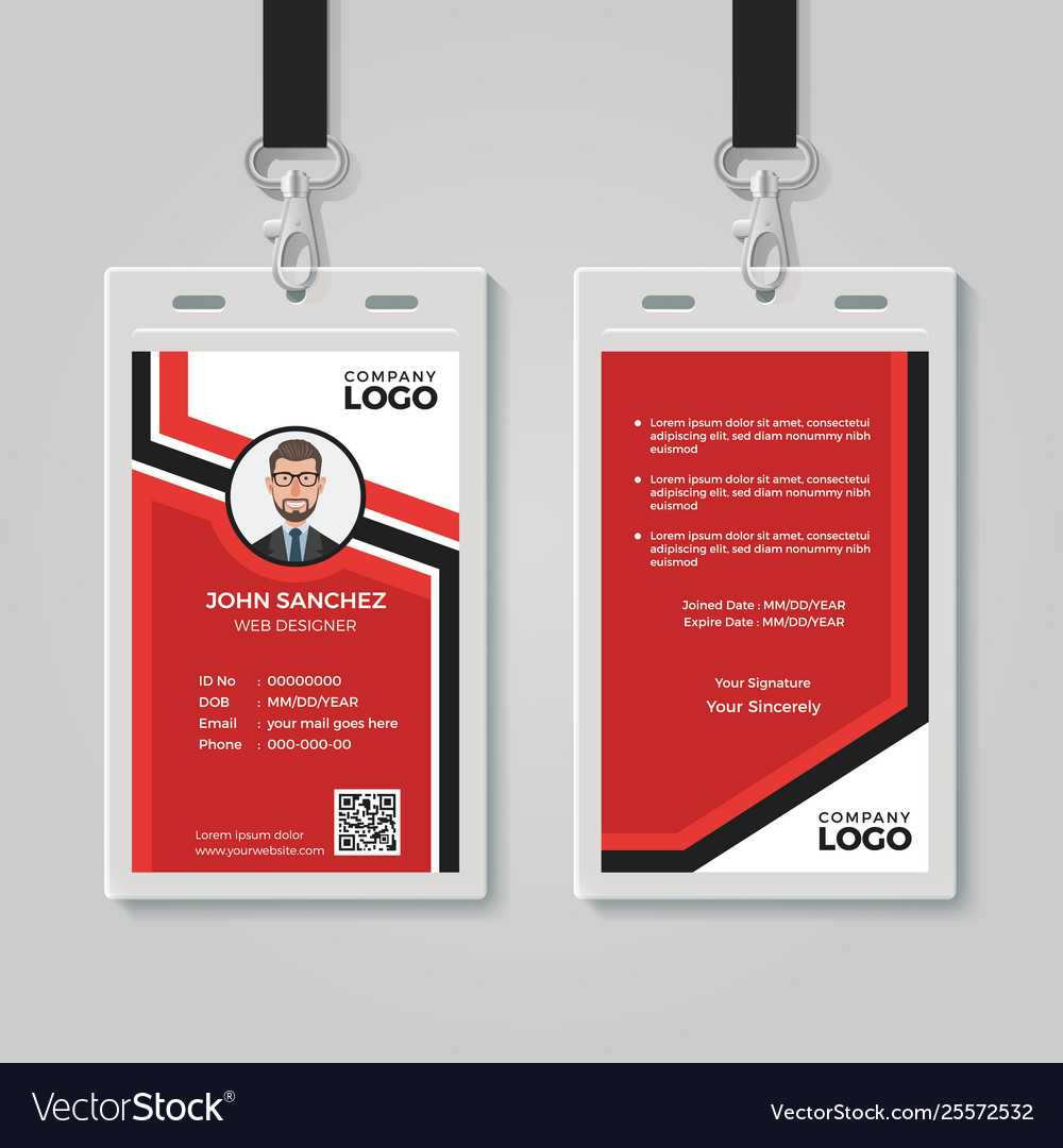 Modern Red Id Card Template With Regard To Template For Id Card Free Download