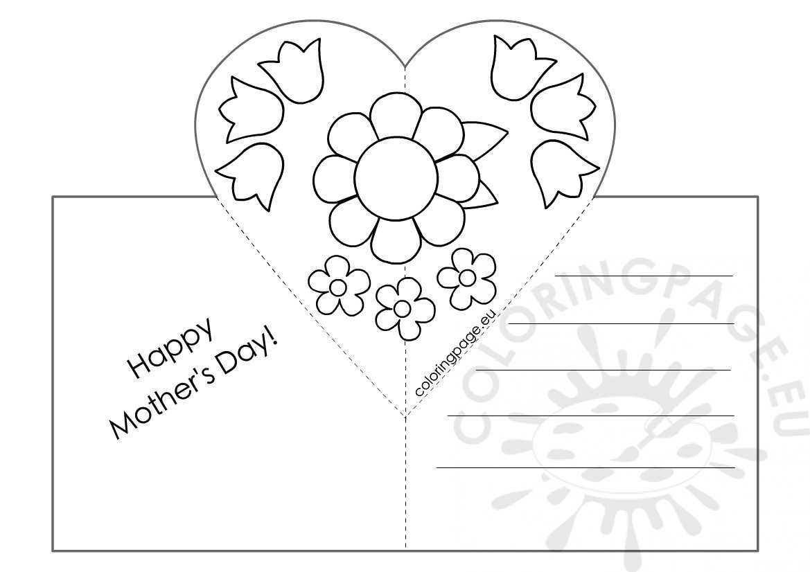 Mothers Day Card With Heart Pop Up Template – Coloring Page For Mothers Day Card Templates