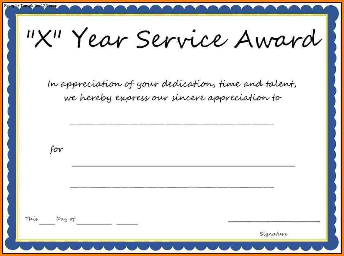Multi Year Service Award Certificate Template Throughout Certificate For Years Of Service Template