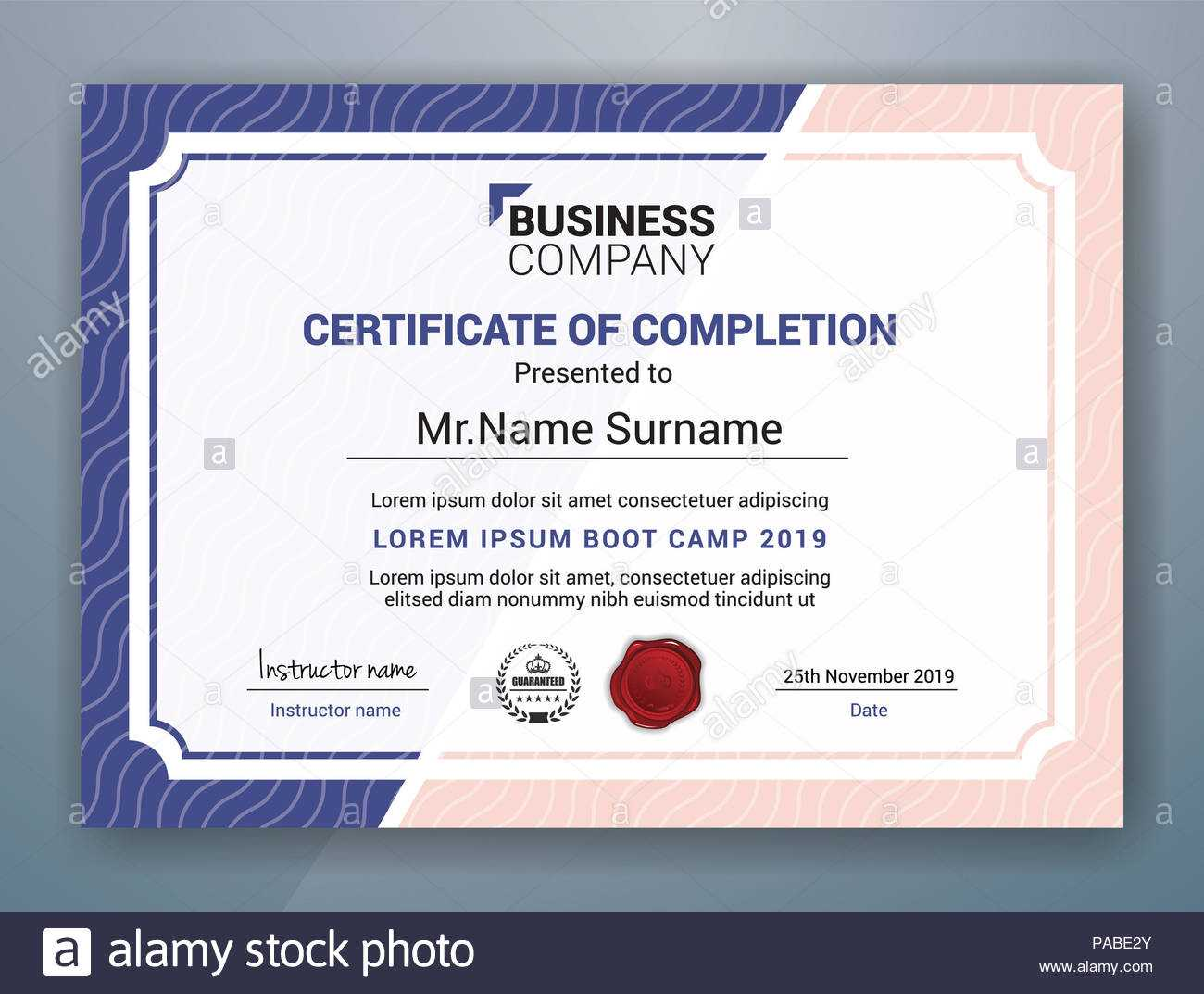 Multipurpose Professional Certificate Template Design For Pertaining To Boot Camp Certificate Template