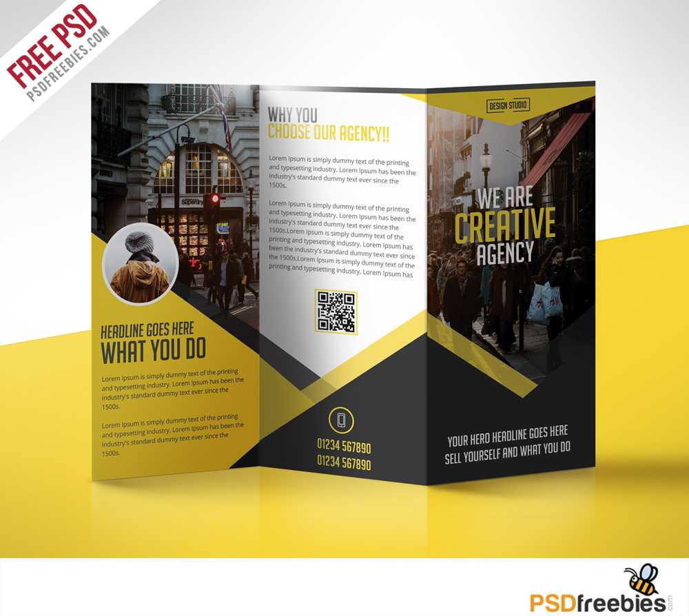 Multipurpose Trifold Business Brochure Free Psd Template For Brochure 3 Fold Template Psd