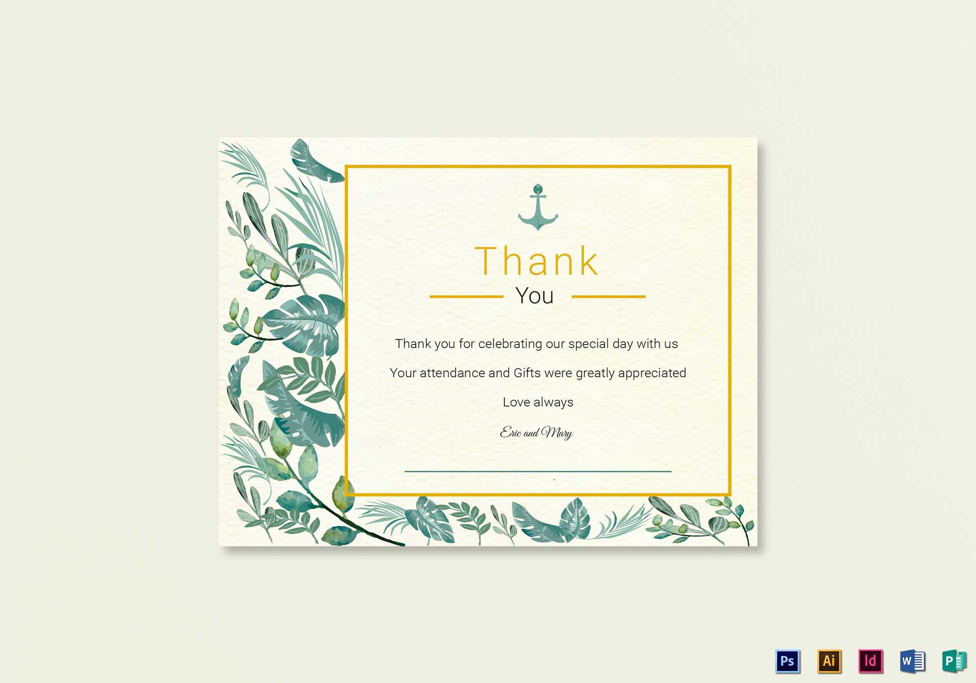 Nautical Thank You Card Template Pertaining To Thank You Card Template Word