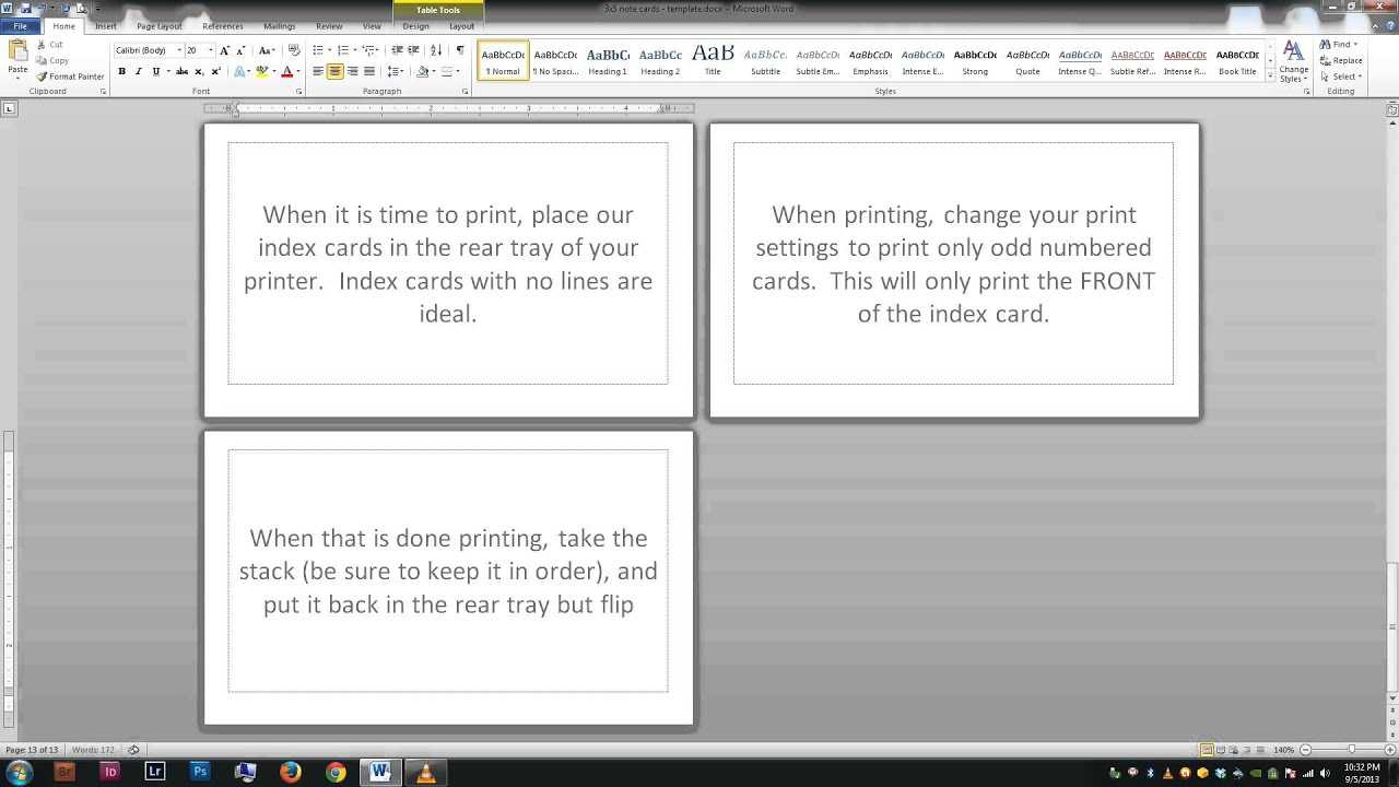 Note/index Cards – Word Template Within Word Template For 3X5 Index Cards