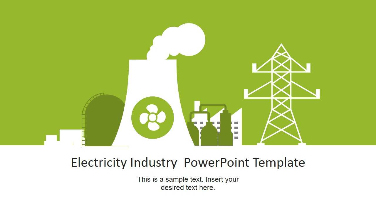 Nuclear Power Plant Vector For Electricity Industry Inside Nuclear Powerpoint Template