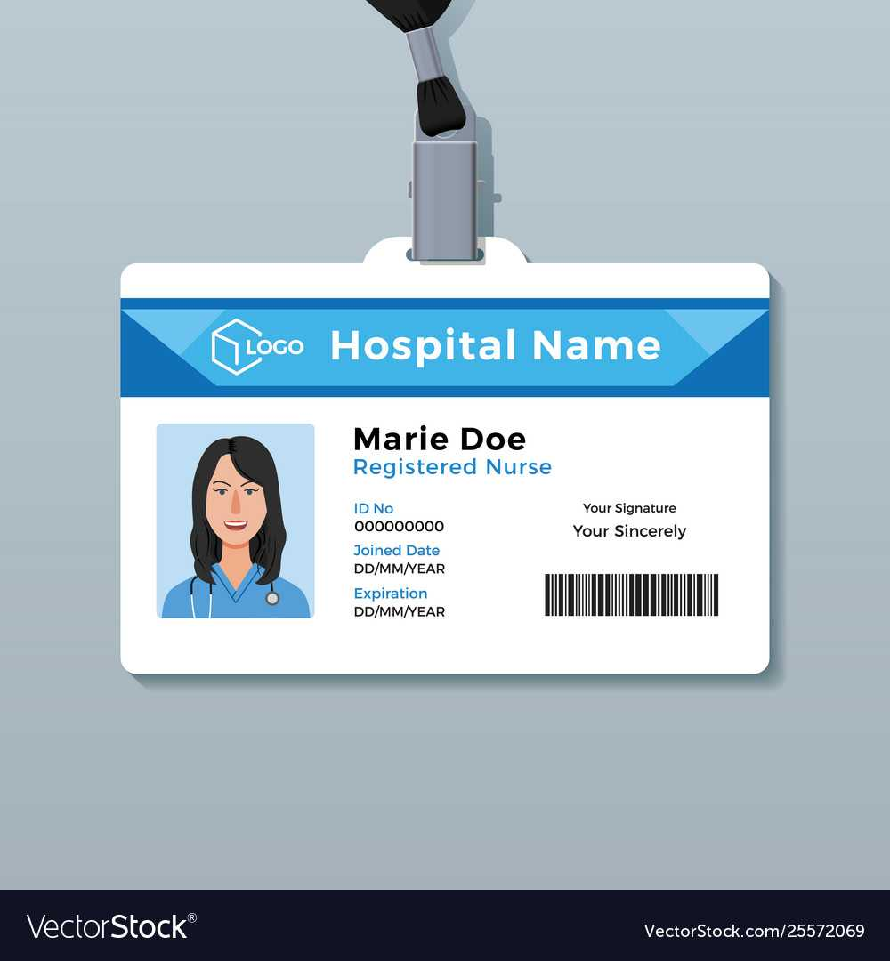 Nurse Id Card Medical Identity Badge Template Throughout Hospital Id Card Template