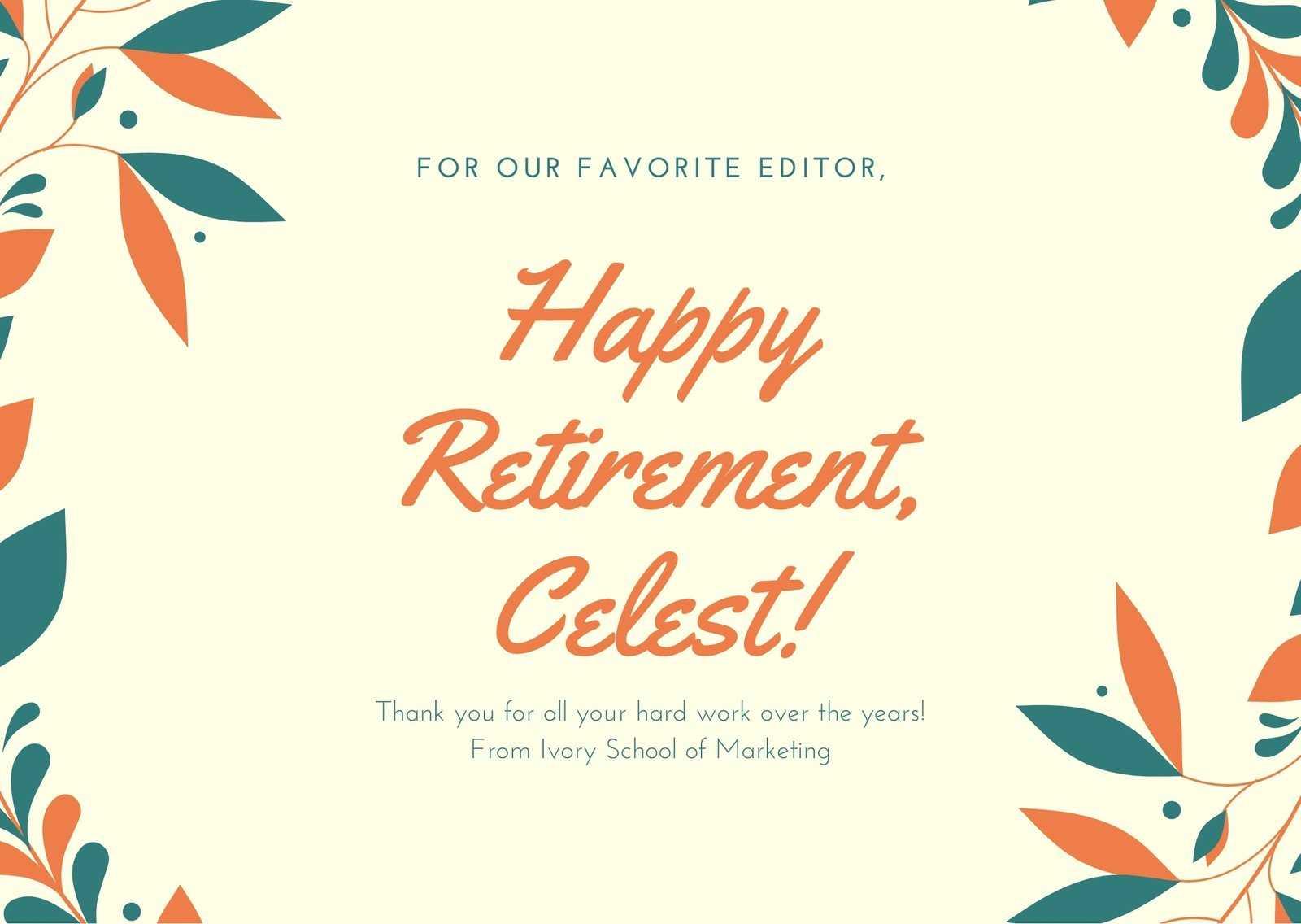 Orange Dark Teal Illustrated Wreath Retirement Card Inside Retirement Card Template