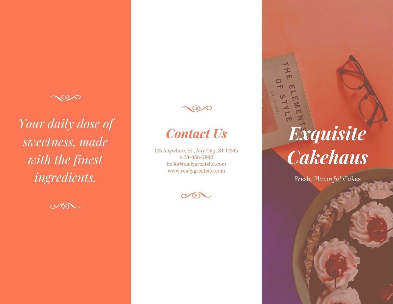 Orange Fancy Cake Business Trifold Brochure - Templatescanva Throughout Fancy Brochure Templates