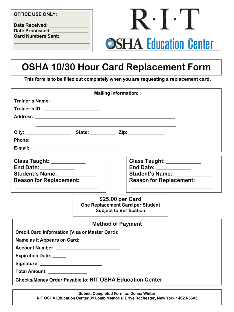 Osha 30 Card Template - Fill Online, Printable, Fillable For Osha 10 Card Template