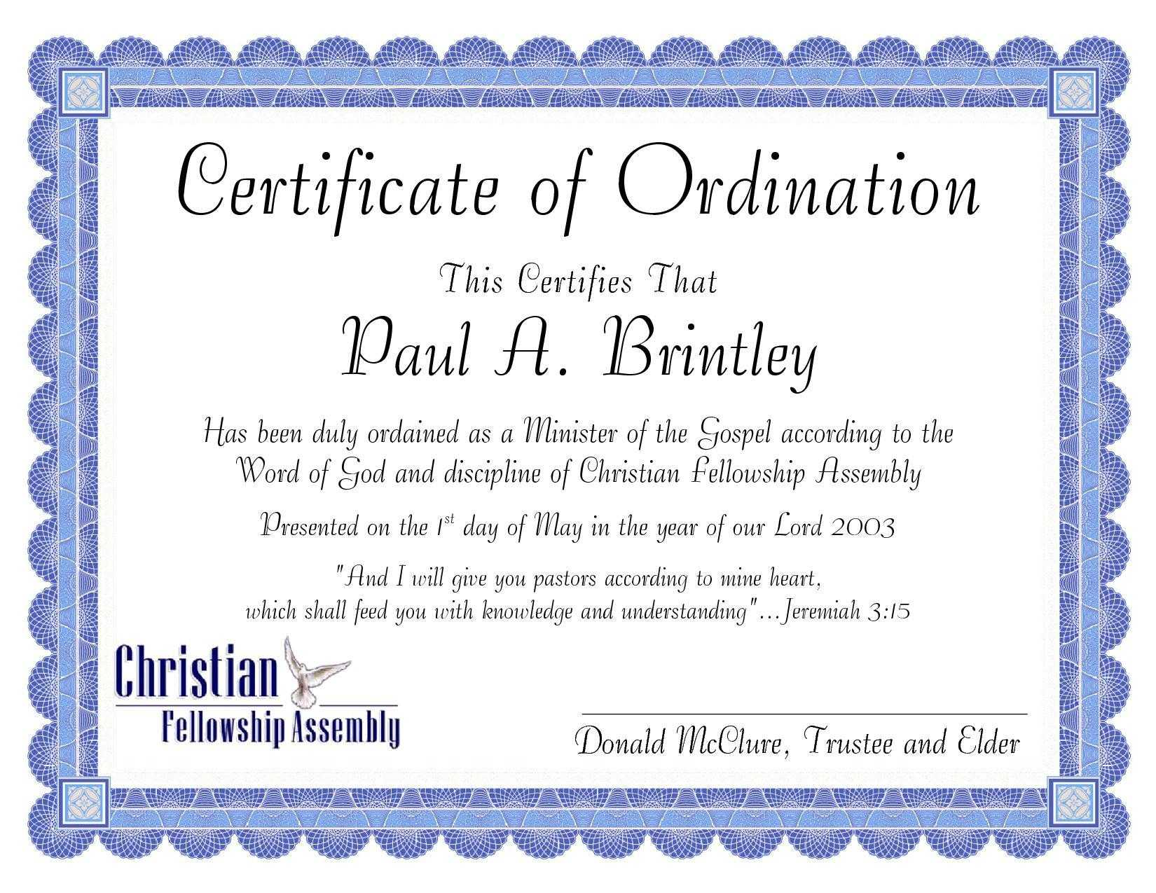 Pastoral Ordination Certificatepatricia Clay - Issuu Throughout Ordination Certificate Template