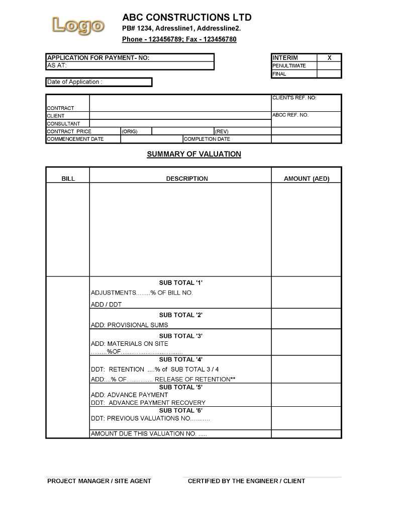 Payment Application Format For Construction Companies For Certificate Of Payment Template