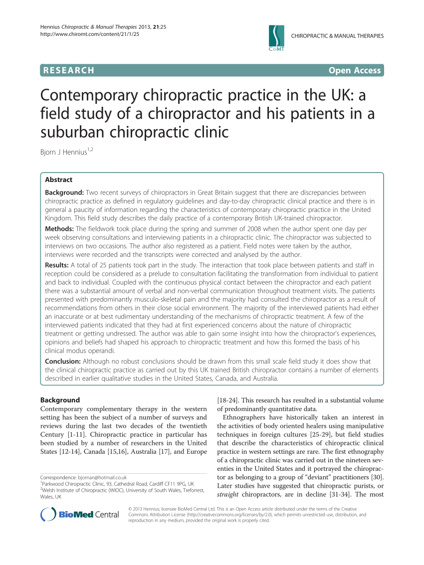 Pdf) Contemporary Chiropractic Practice In The Uk: A Field Within Chiropractic Travel Card Template
