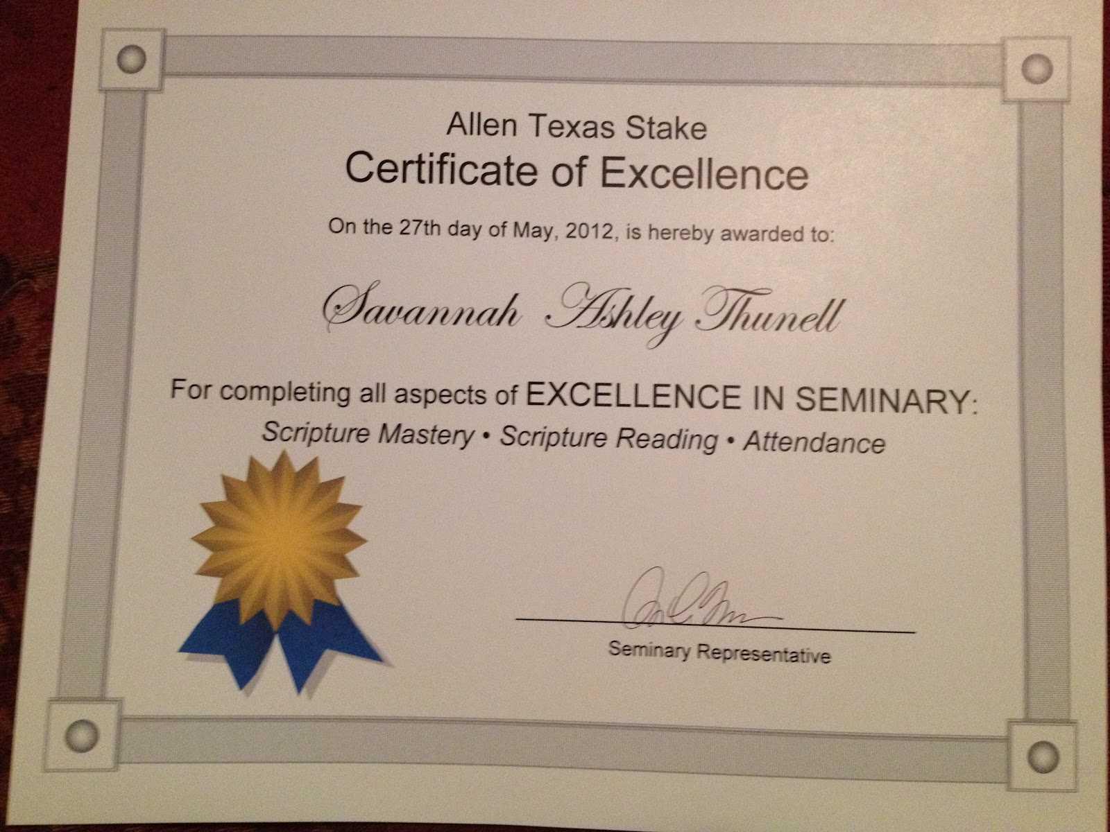 Perfect Attendance Certificate – Certificate Templates For Perfect Attendance Certificate Template