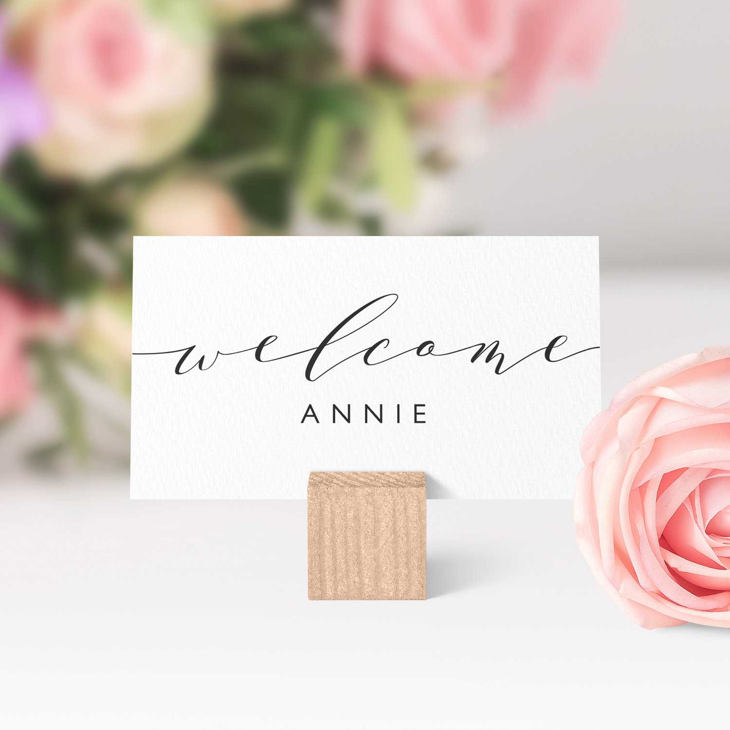 Place Cards Printable Template, Flat And Folded Welcome Within Place Card Setting Template