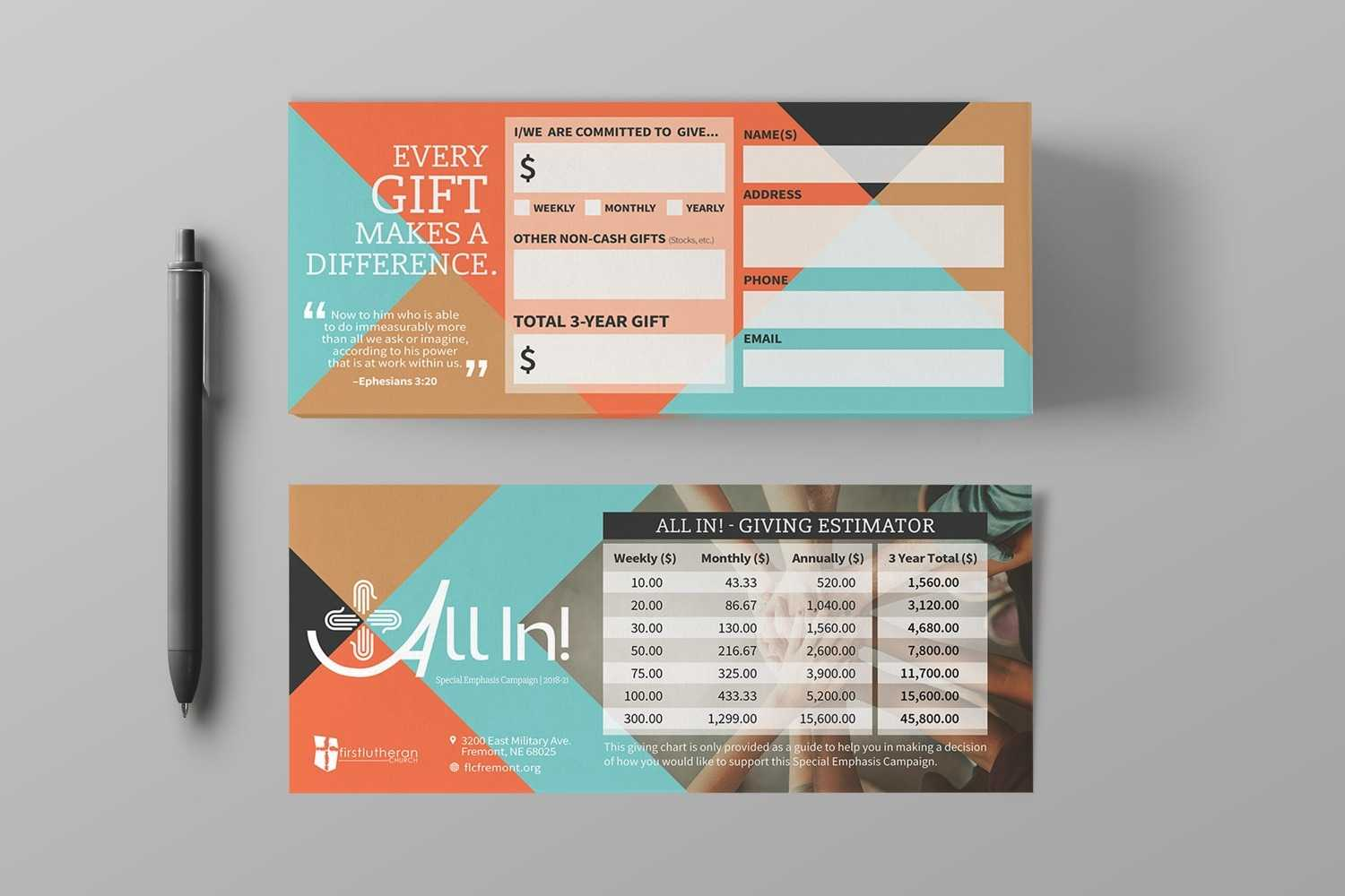 Pledge Cards & Commitment Cards | Church Campaign Design For Pledge Card Template For Church