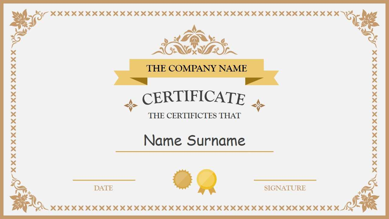 Polished Design Certificate For Powerpoint Pertaining To Certificate Of Participation Template Ppt