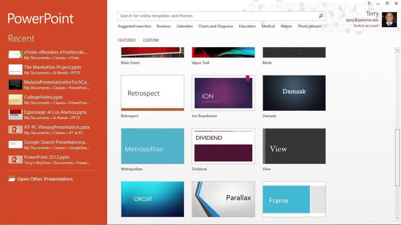 Powerpoint 2013: Templates, Themes & The Start Screen Intended For Powerpoint 2013 Template Location