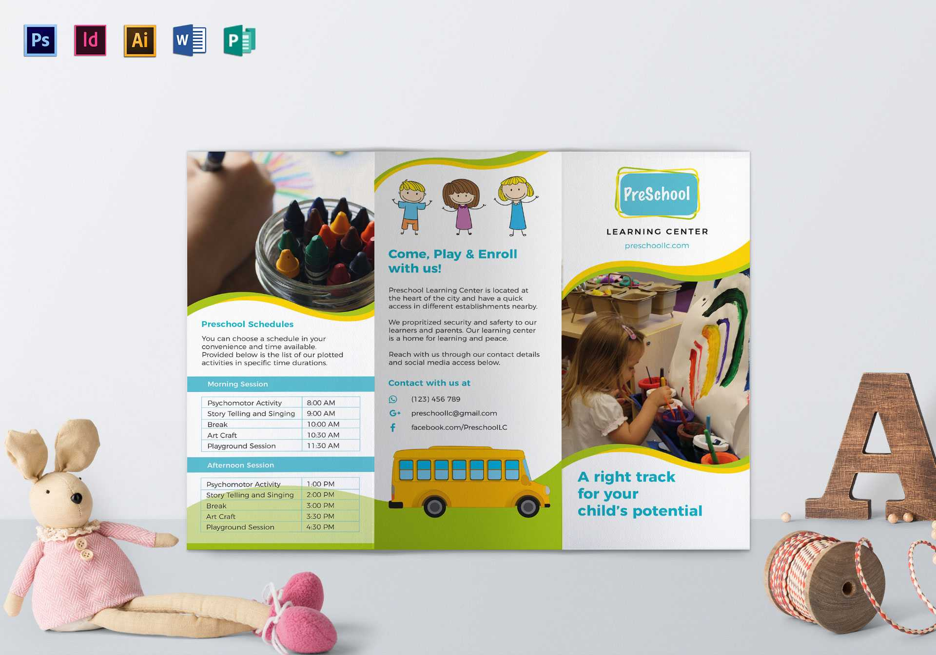 Pre School Brochure Template Intended For Play School Brochure Templates