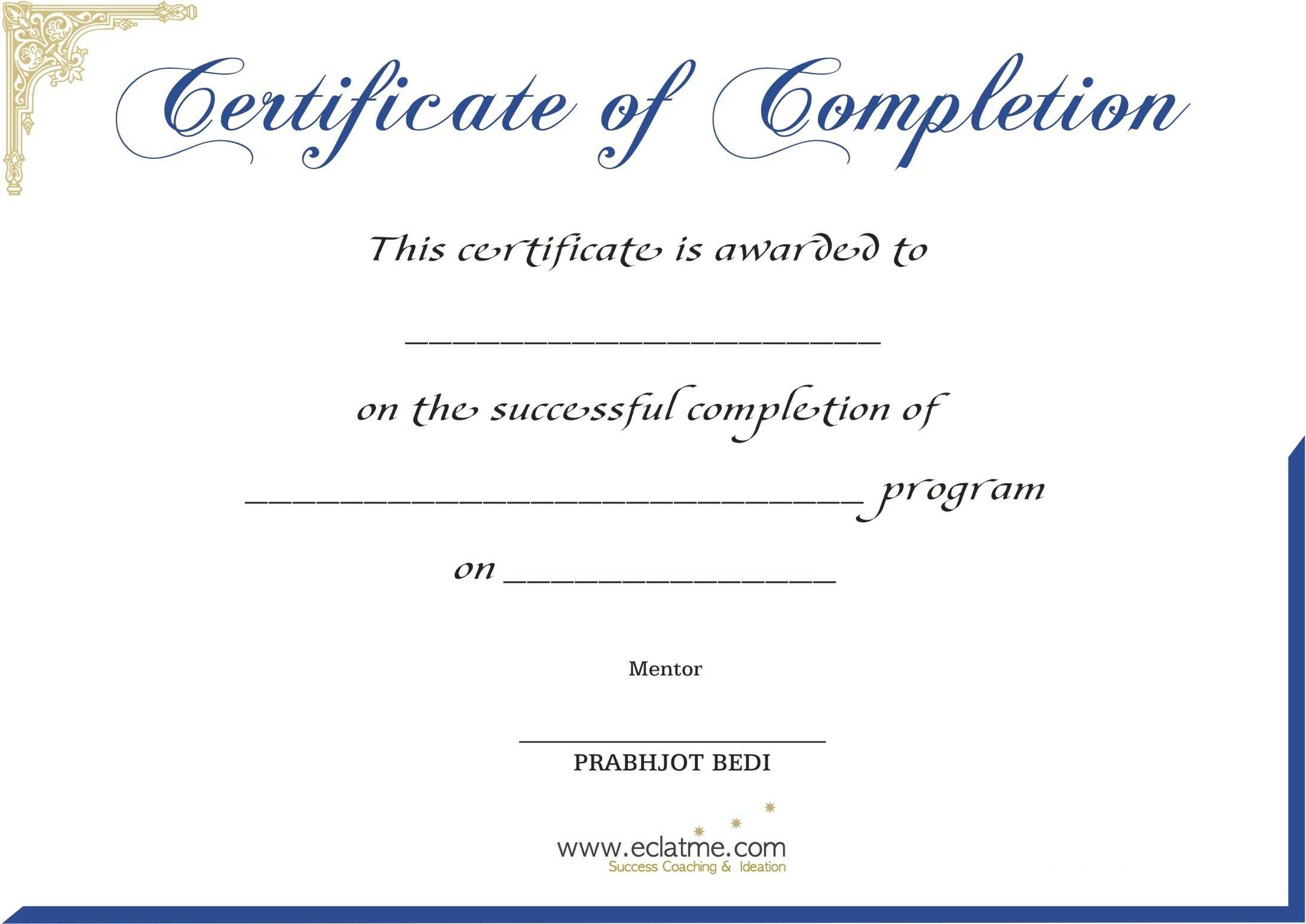 Premium Blank Certificate Of Completion Flyers : V M D With Premarital Counseling Certificate Of Completion Template