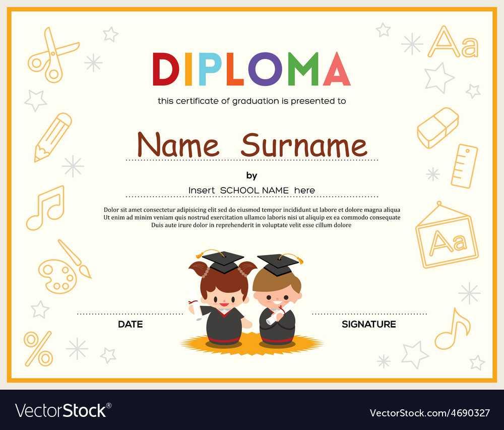 Preschool Kids Diploma Certificate Template Pertaining To Preschool Graduation Certificate Template Free