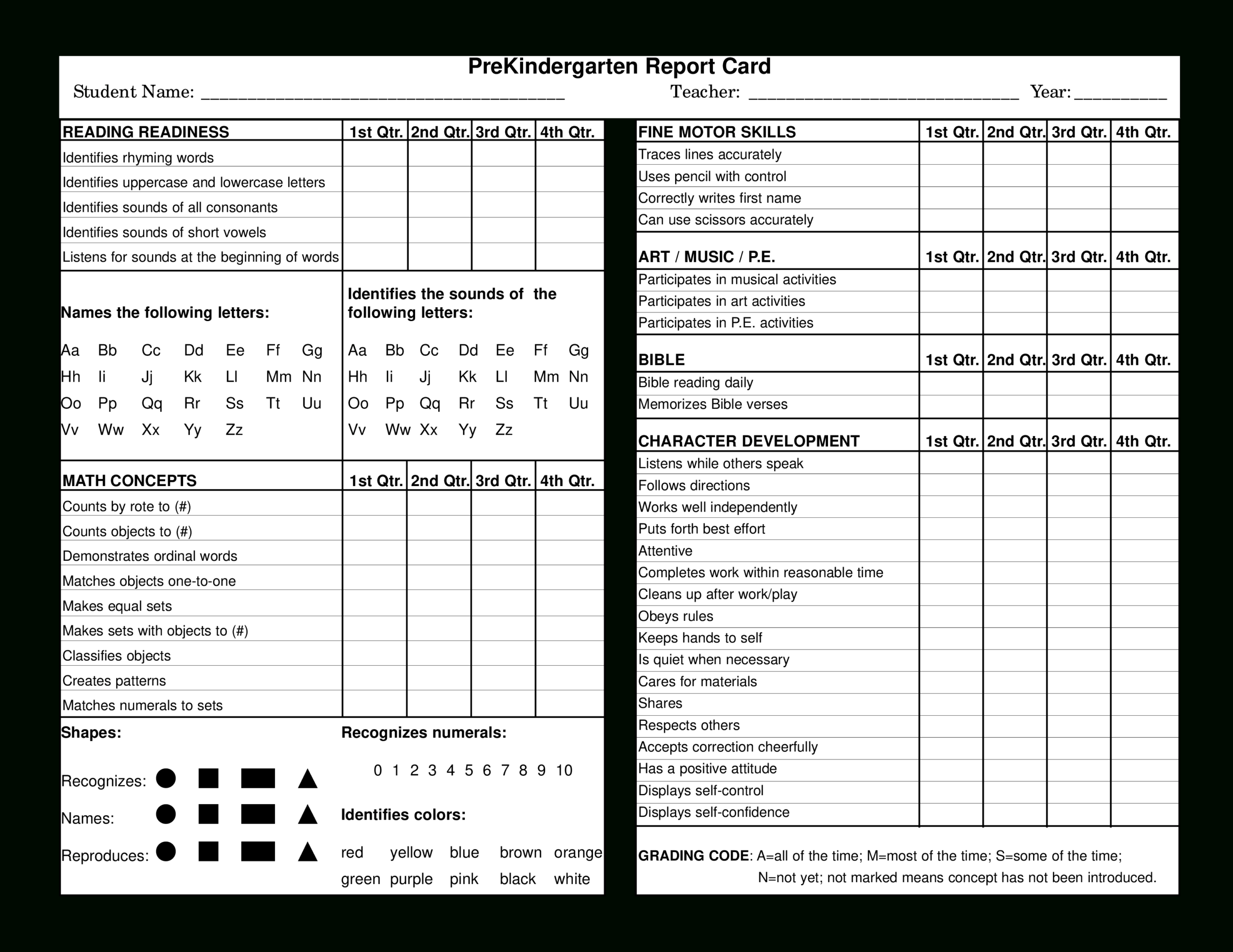Preschool Report Card | Templates At Allbusinesstemplates With Regard To Character Report Card Template
