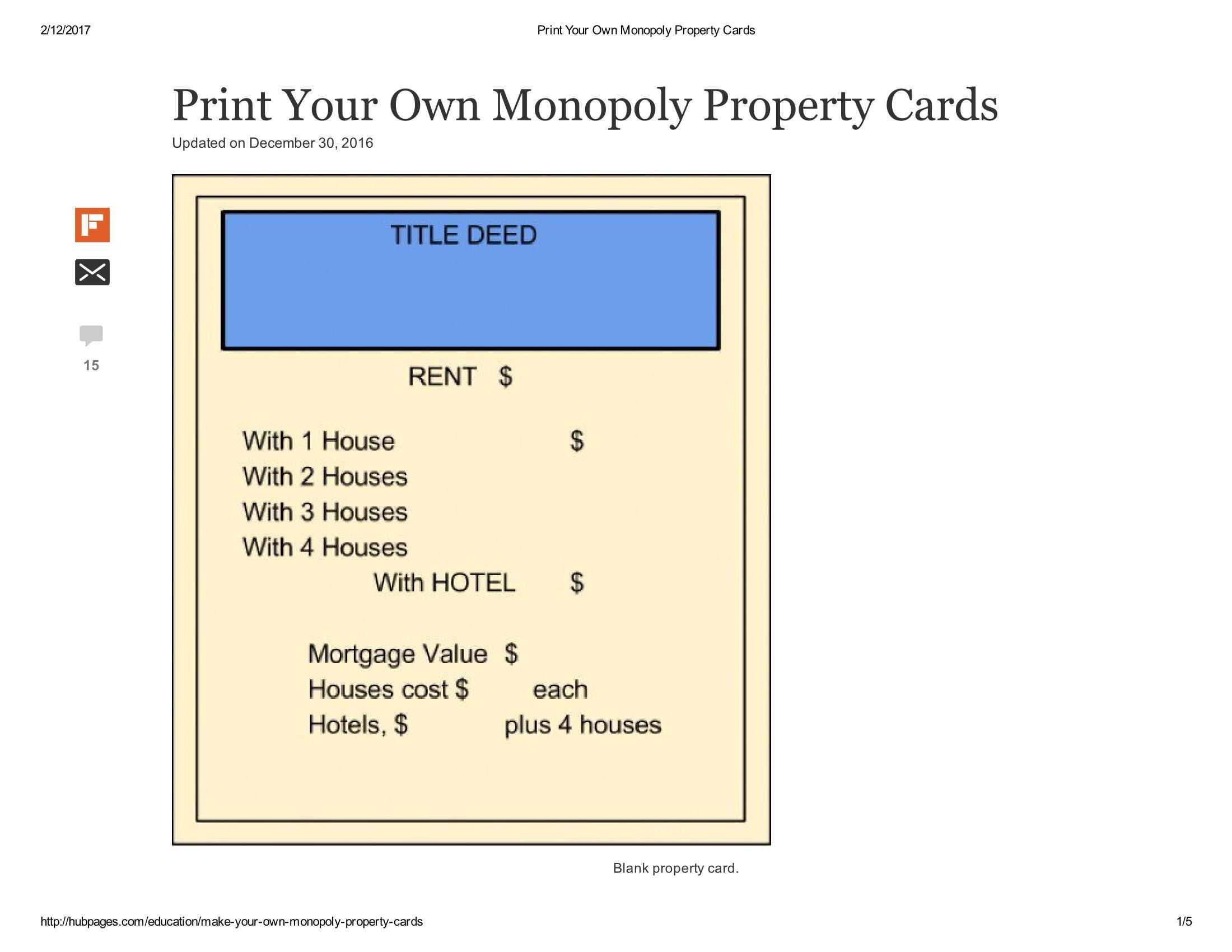 Print Your Own Monopoly Property Cards Document Pages 1 - 5 Within Monopoly Property Cards Template