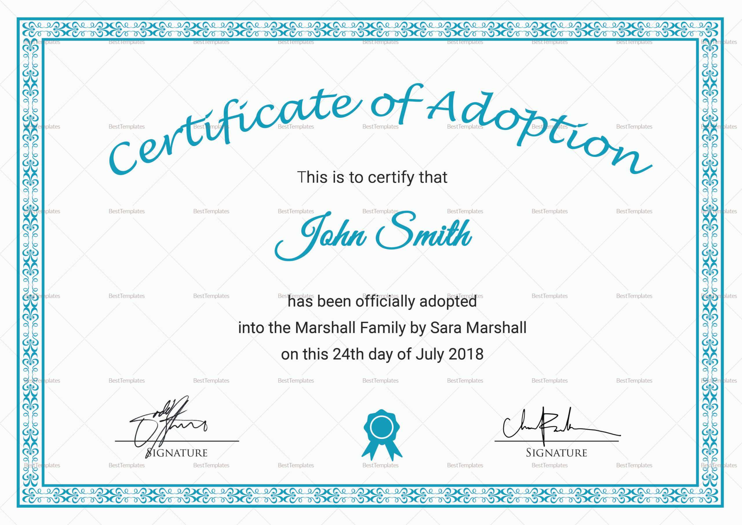 Printable Adoption Certificate Template Regarding Blank Adoption Certificate Template