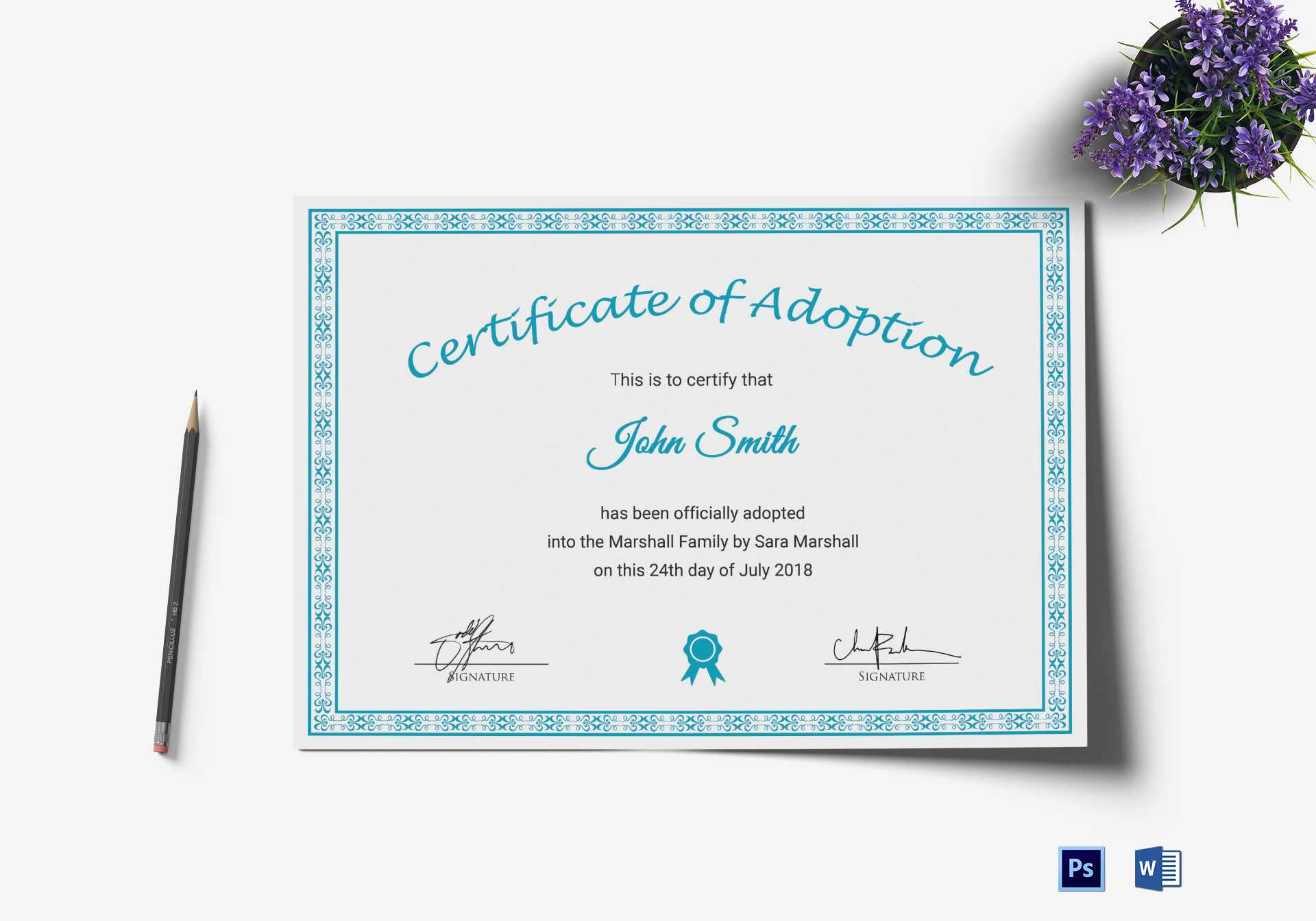Printable Adoption Certificate Template Within Child Adoption Certificate Template