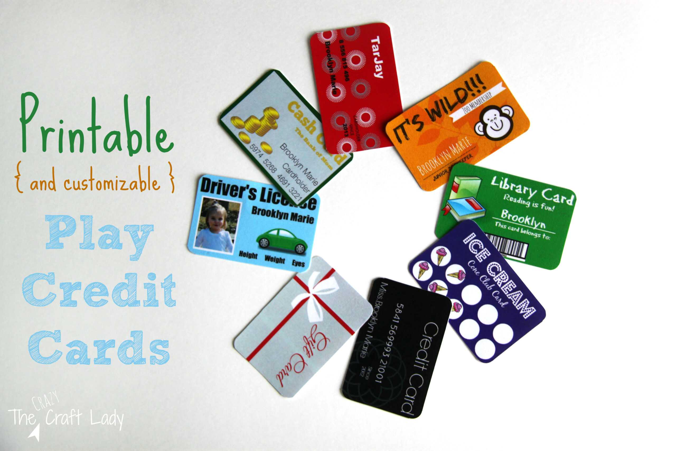 Printable (And Customizable) Play Credit Cards - The Crazy Within Credit Card Template For Kids
