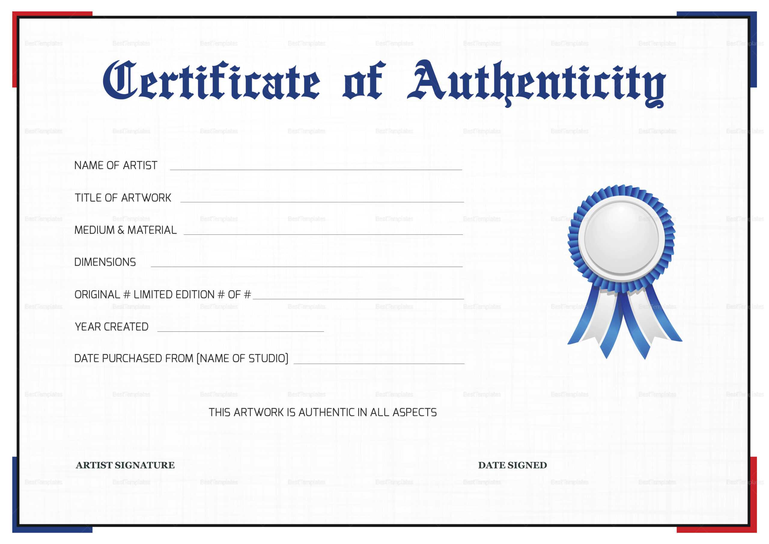 Printable Certificate Of Authenticity That Are Gorgeous Throughout Certificate Of Authenticity Template