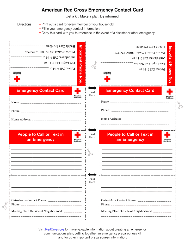Printable Emergency Card Template - Fill Online, Printable With Emergency Contact Card Template