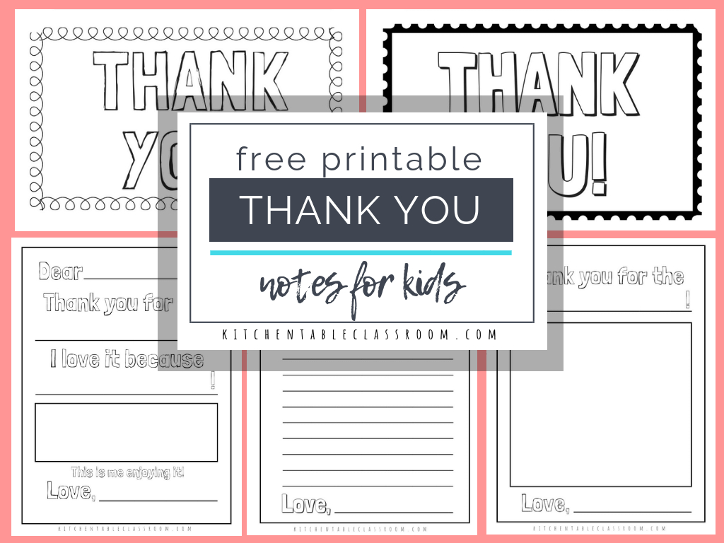 Printable Thank You Cards For Kids – The Kitchen Table Classroom Throughout Free Printable Thank You Card Template