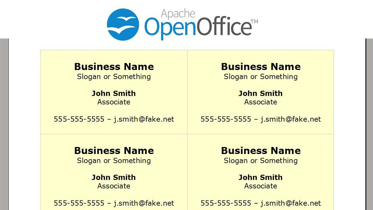 Printing Business Cards In Openoffice Writer With Business Card Template Open Office