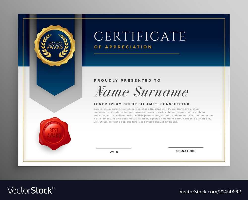 Professional Blue Certificate Template Design With Regard To Professional Award Certificate Template