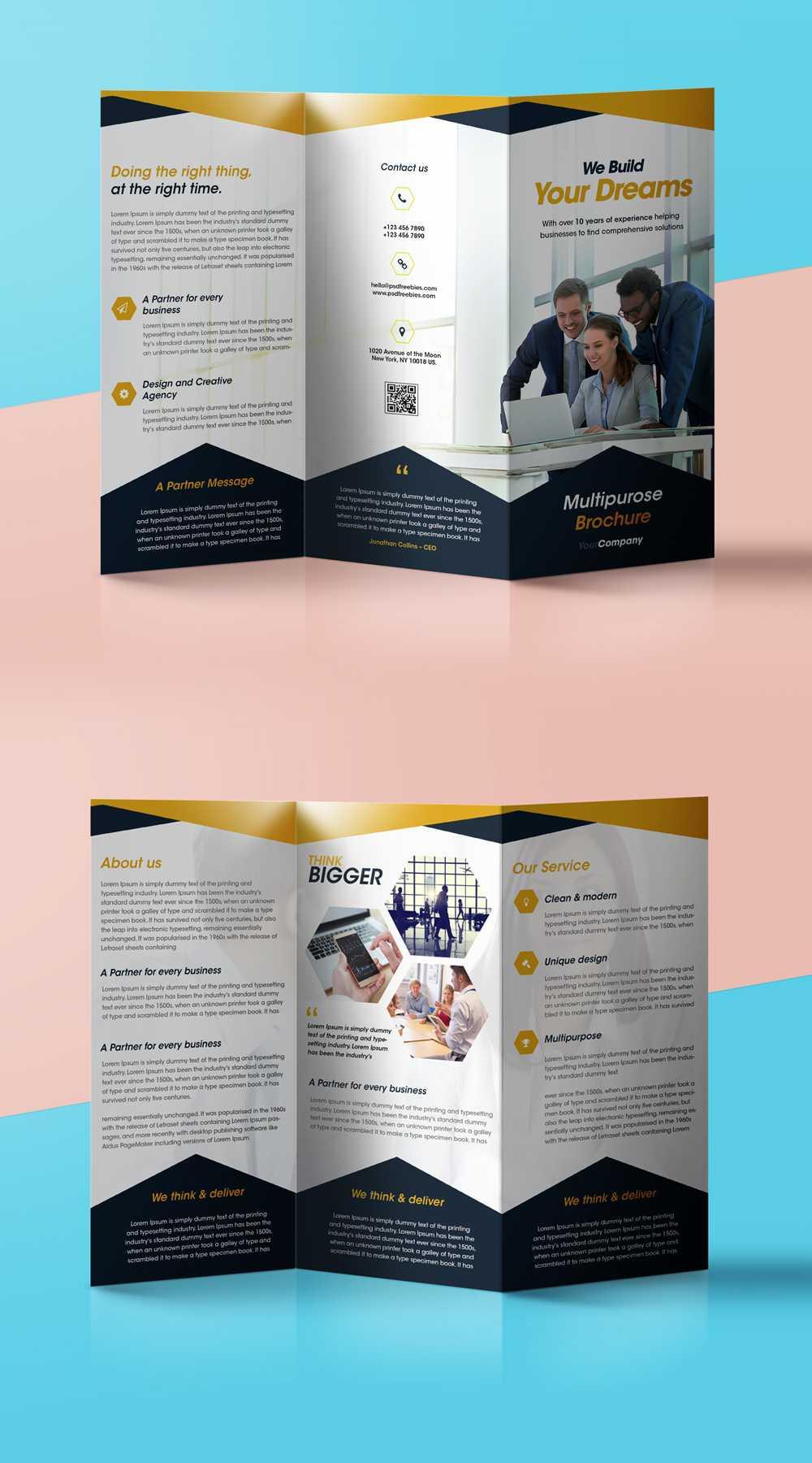 Professional Corporate Tri Fold Brochure Free Psd Template In Free Three Fold Brochure Template
